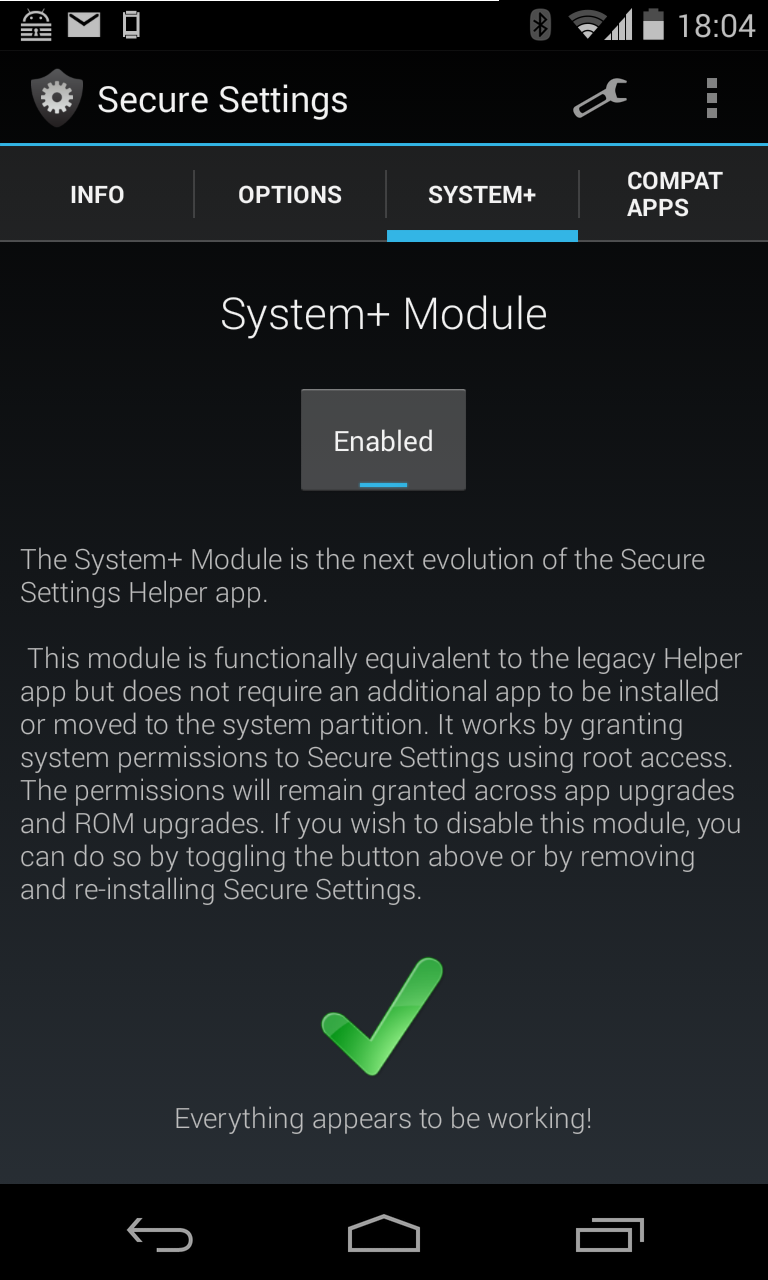 Aktivierung des System+ Moduls in Secure Settings
