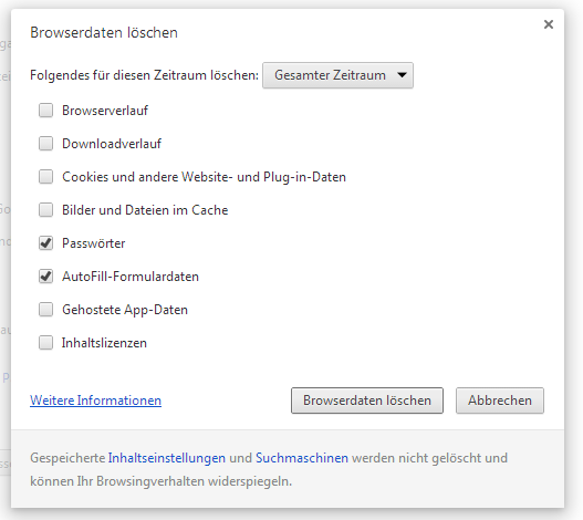 Chrome-Passwörter löschen