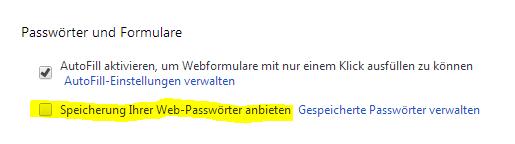 Chrome-Passwörter nicht speichern