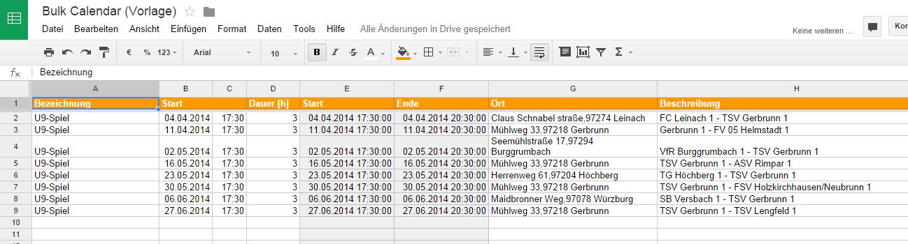 Bulk Calendar - Tabelle