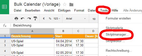 Bulk Calendar - Tools - Skriptmanager